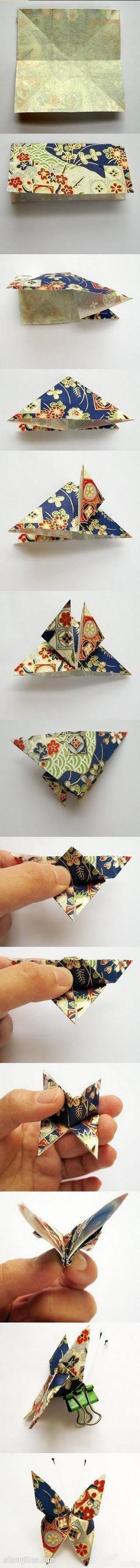 蝴蝶的折法步驟圖 摺紙蝴蝶教學步驟圖解