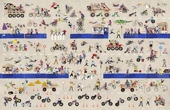 上千张儿童写真合成的巨幅欢乐街景照片