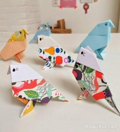 小鳥的折法圖解 摺紙麻雀鳥兒手工製作教學