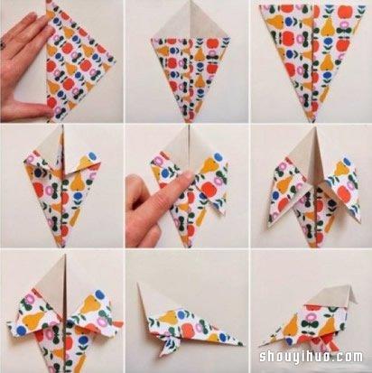 小鸟的折法图解 折纸麻雀鸟儿手工制作教程