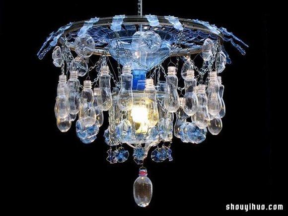 废塑料瓶取代玻璃 回收再利用DIY水晶吊灯_手艺活网