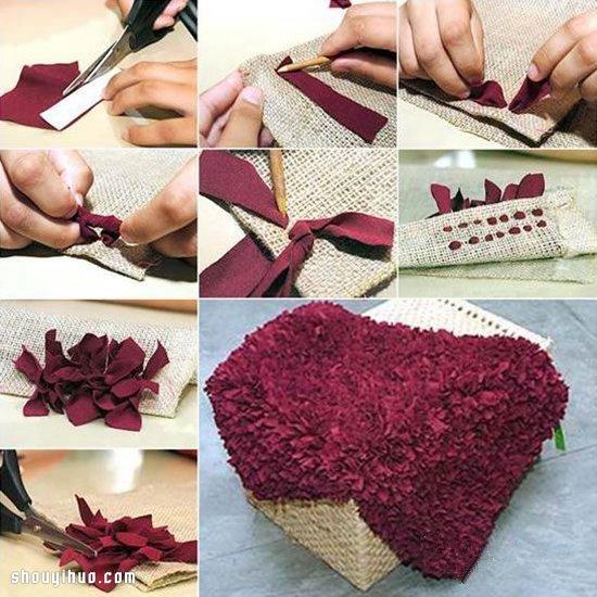 利用旧衣服和麻布diy手工制作脚垫地毯教程