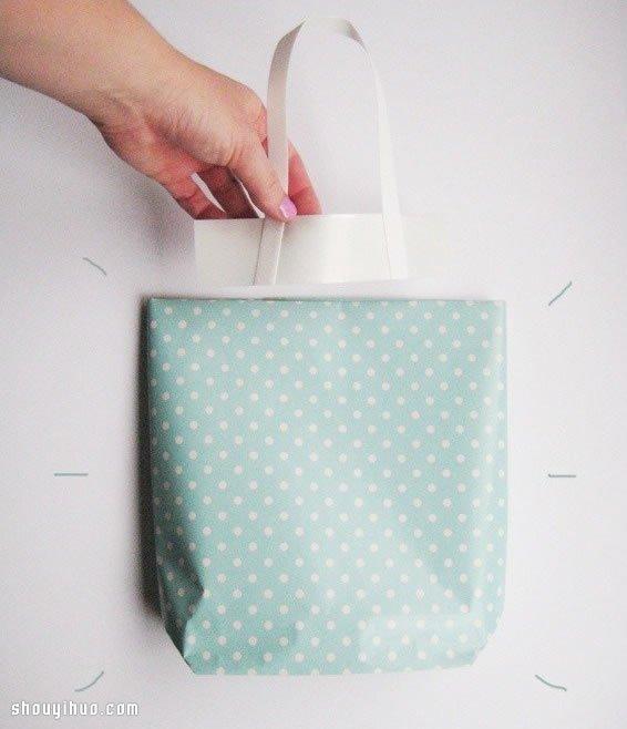 很簡單的小清新手提袋摺紙手工製作圖解教程