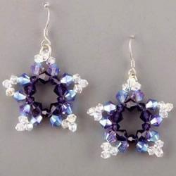 漂亮的五角星形状串珠水晶耳环DIY手工制