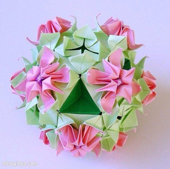美轮美奂的手工折纸花球作品欣赏(二)