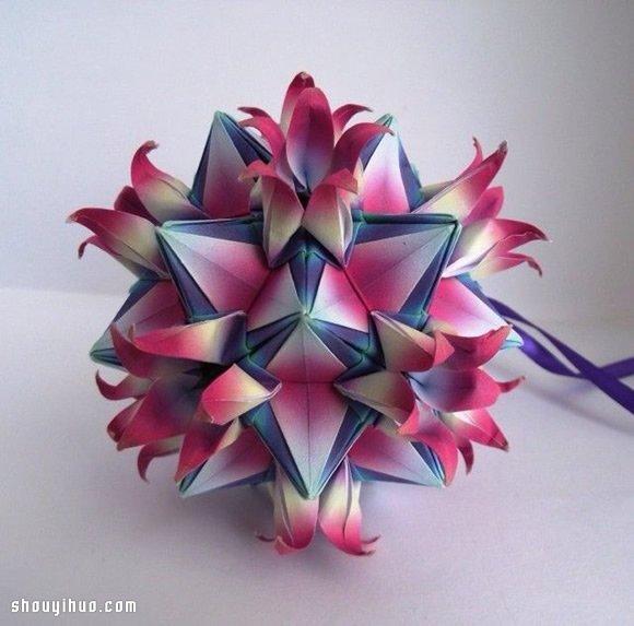 美輪美奐的手工摺紙花球作品欣賞(二)