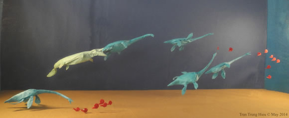 越南摺紙藝術家Adam Tram的摺紙恐龍作品
