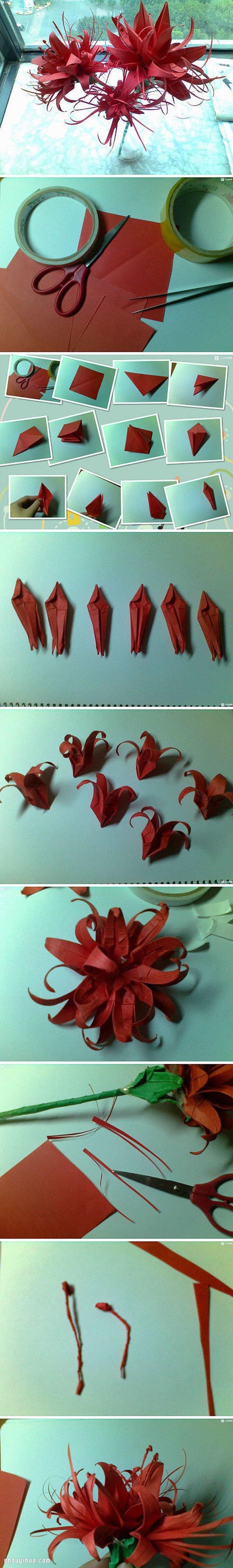 盛開熱帶花卉的折法圖解 手工摺紙漂亮花朵