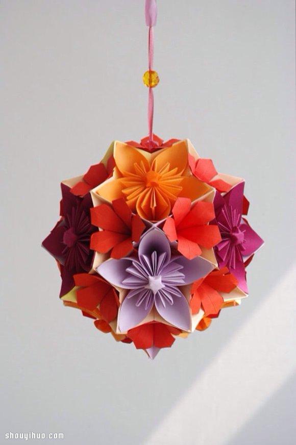 美輪美奐的手工摺紙花球作品欣賞(三)