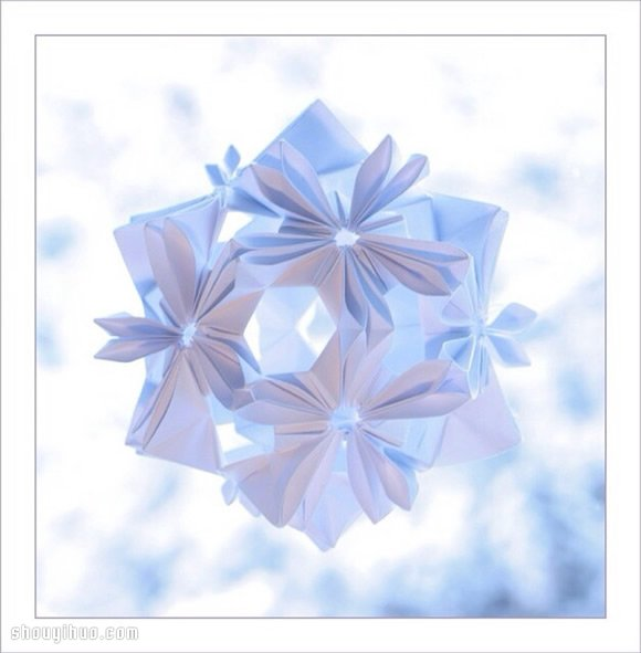 美轮美奂的手工折纸花球作品欣赏 三 2