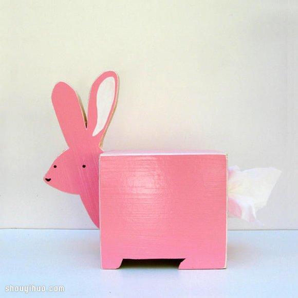 纯手工打造的缤纷彩绘小动物纸巾盒图片