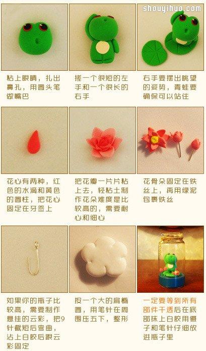 可爱小青蛙摆件装饰品粘土手工制作图解教程