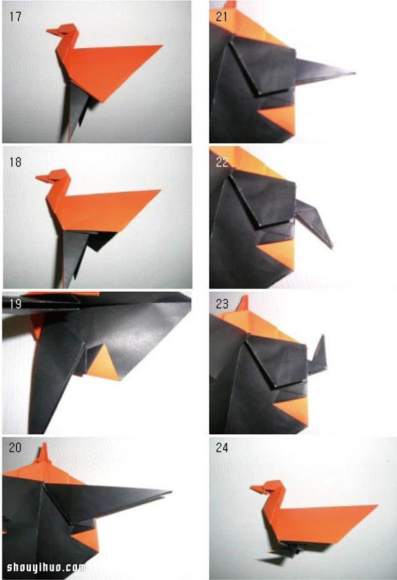 鸭子的折法图解 手工折纸立体鸭子教程