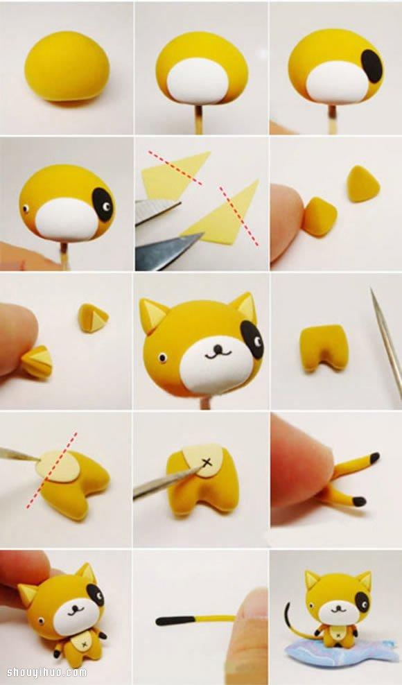 超轻粘土手工制作可爱卡通猫咪手办图解教程