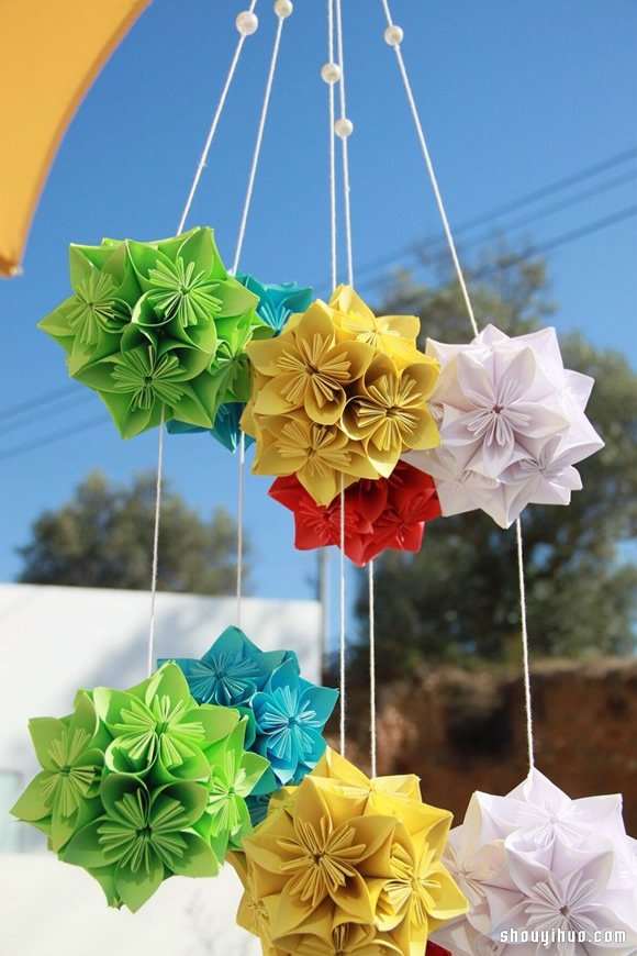 美輪美奐的手工摺紙花球作品欣賞(六)