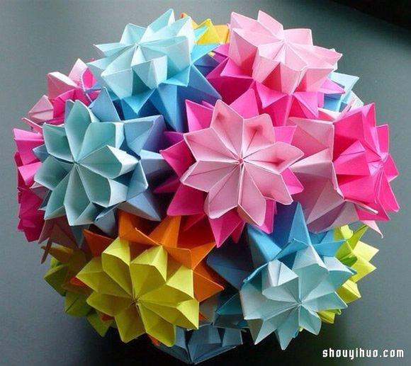 美轮美奂的手工折纸花球作品欣赏 六 2