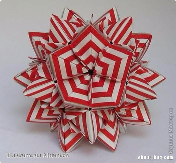美輪美奐的手工摺紙花球作品欣賞(七)