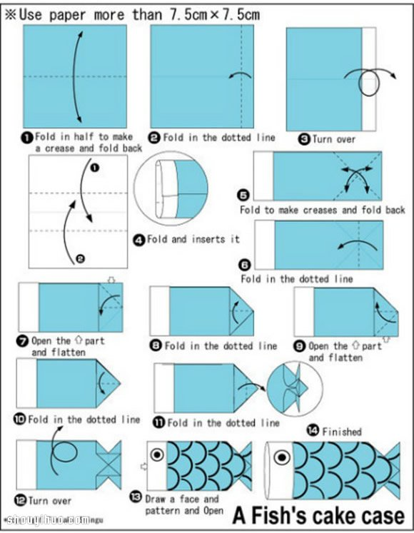鯉魚包裝盒的折法 手工摺紙鯉魚包裝盒圖解