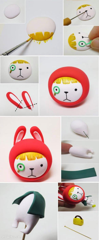 可爱的魔术师兔子粘土手办DIY,搞笑的造型与认真的表情形成了充满趣味的对比。如果你喜欢超轻粘土手工,可不要错过这么好玩的一款作品哦,放置在书架或是办公桌上都是一件很不错的装饰摆件~~~ 下面就让我们一起准备好超轻粘土材料和工具,跟着图解教程来制作吧~这款兔子粘土玩偶除了眼睛、鼻子、嘴巴和头发是画上去的,其他可都是用粘土制作而成的哦~~~