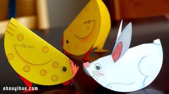 卡纸剪纸制作可爱的立体小兔子小公鸡玩具