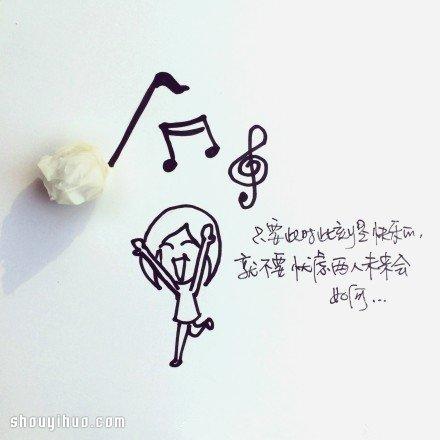 鲜花与简笔画创意DIY 讲述简单的爱情箴言_手艺活网
