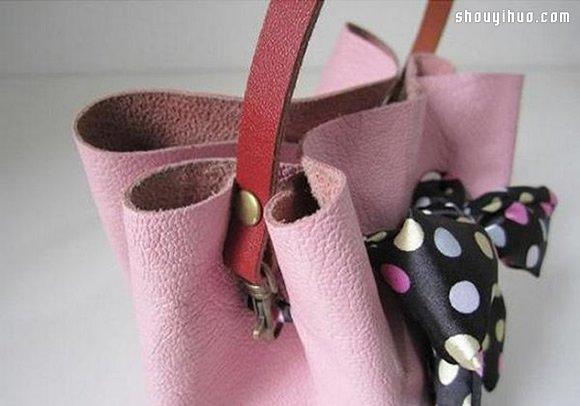 手提包的制作方法,用一根漂亮丝带打上蝴蝶结来束口