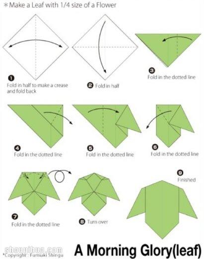 折纸牵牛花的折法 手工折纸喇叭花折法图解