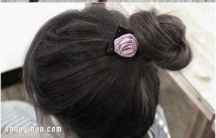 绸带玫瑰花发绳发饰diy手工制作图解教程