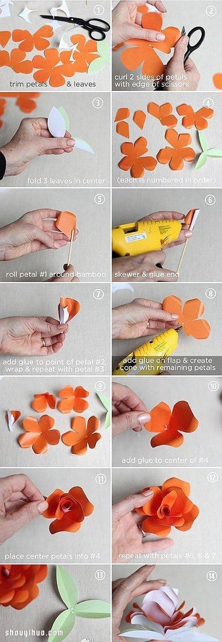 簡單摺紙漂亮玫瑰花的折法步驟圖解教學
