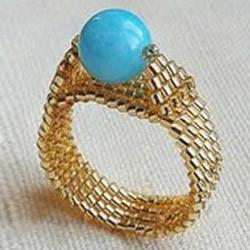 金灿灿的串珠宝石戒指DIY手工制作图解教