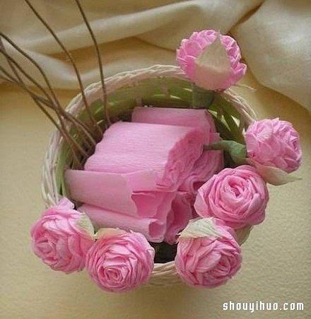 皱纹折纸玫瑰_皱纹纸玫瑰花折法图解手工折纸粉玫瑰教程_手艺活网