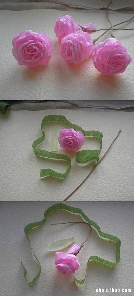 皱纹纸玫瑰花折法图解 手工折纸粉玫瑰教程