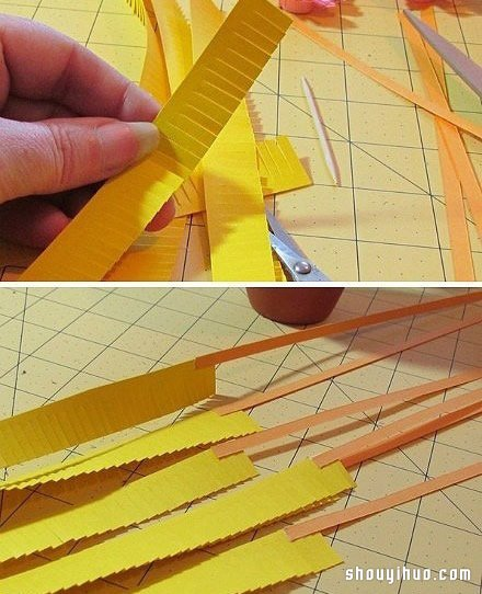 卡纸手工制作纸花盆栽 假花盆栽制作用卡纸
