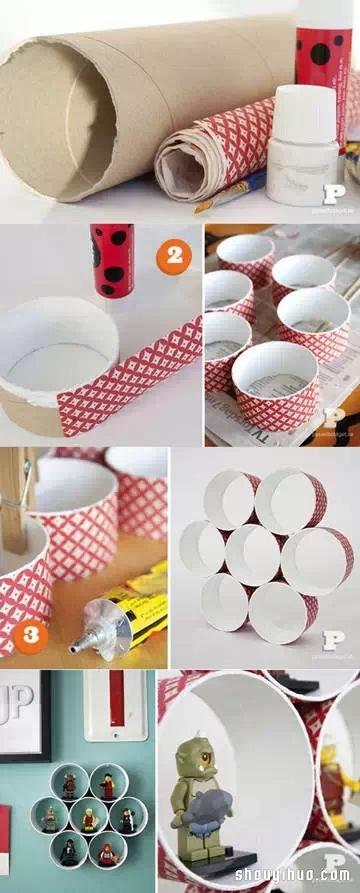废弃纸筒简单手工制作壁挂式收纳架,大号透明胶布纸筒或者是网球筒