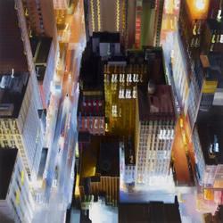 晃动光影迷幻交织 纽约城市夜景抽象画