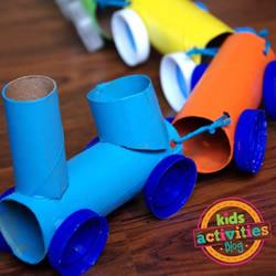 儿童火车玩具手工制作 卫生纸卷筒+塑料瓶盖