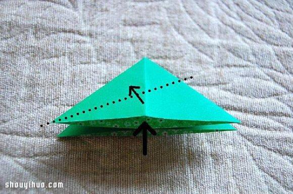 立體四葉草的折法圖解 簡單手工摺紙四葉草
