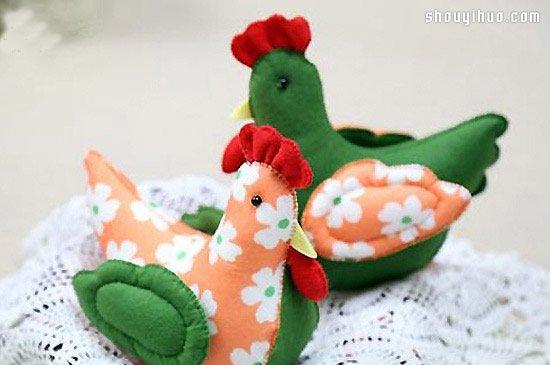 可爱的公鸡布艺玩具DIY手工制作图解教程图片