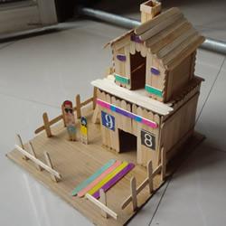 雪糕棍废物利用DIY制作两层楼小别墅模型