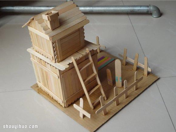 幼儿 废物利用 小手工 雪糕棍 房子模型