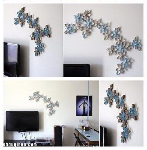 宝DIY漂亮的墙壁装饰画,看来卷纸筒也不甘于只是小孩子的玩物,图片