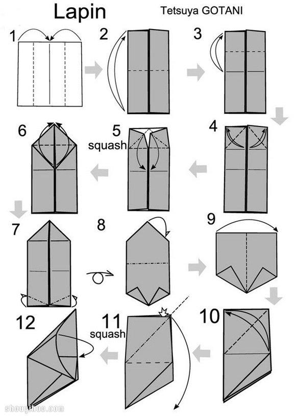 特別漂亮的立體兔子的折法圖解教學