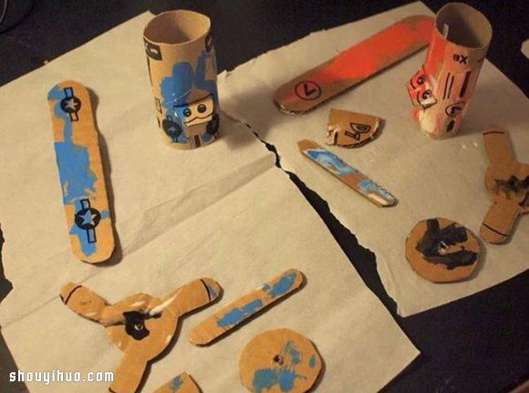 卫生纸卷筒和瓦楞纸 手工制作小飞机模型 - www.shouyihuo.com