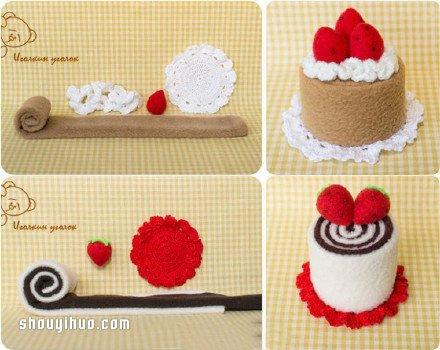 一组萌萌的不织布蛋糕甜点手工制作图解教程