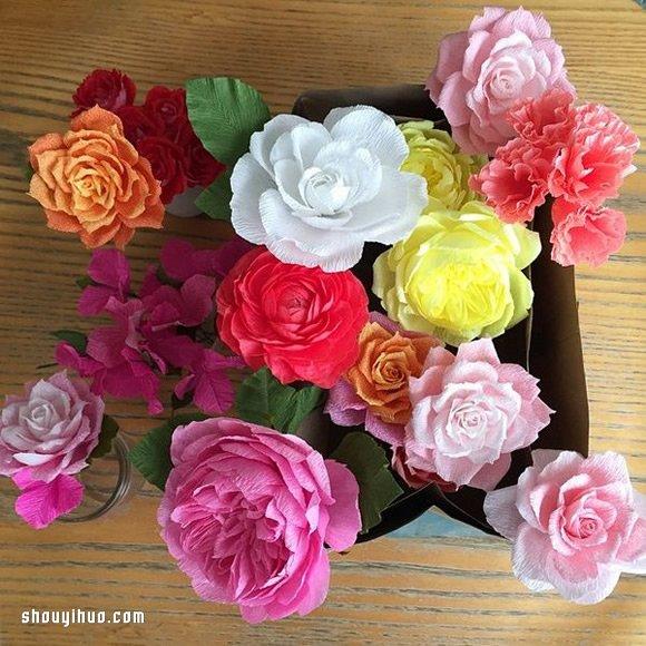 简单手工纸花制作方法步骤        漂亮红色花朵的制作方法 用卡纸