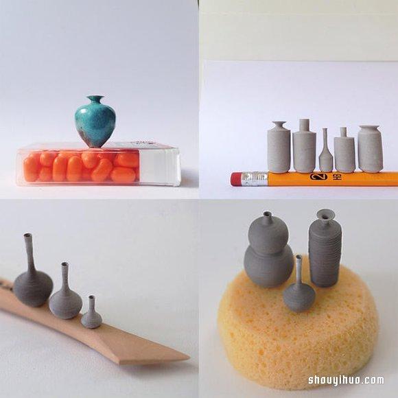 Jon Almeda的袖珍陶艺创作 迷你拇指手拉胚 -  www.shouyihuo.com