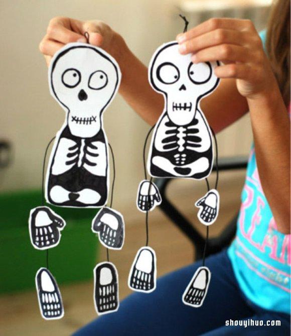 幼儿玩具:好玩骷髅小人挂件手工制作方法