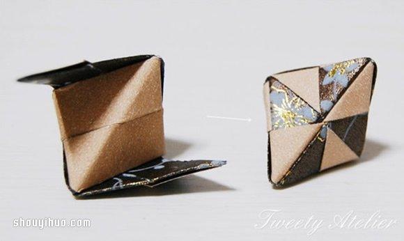 摺紙立體菱形的折法圖解 用作包裝盒或掛件