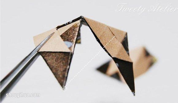 折纸立体菱形的折法图解 用作包装盒或挂件