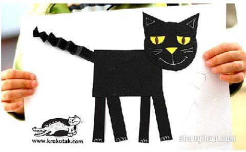 简单的剪纸黑猫拼贴画手工制作方法教程